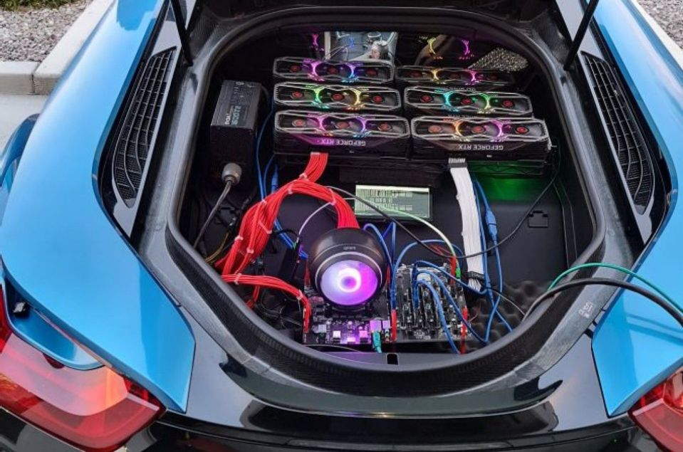 cryptocurrency mining car