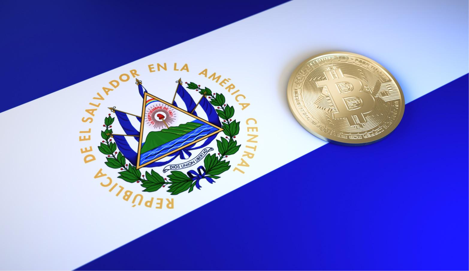 """Flag of El Salvador with """"Bitcoin"""""""